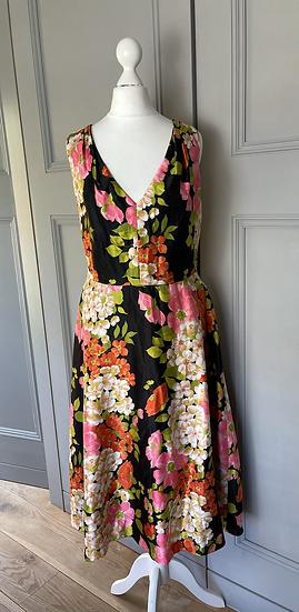Vintage Black floral midi dress Uk14