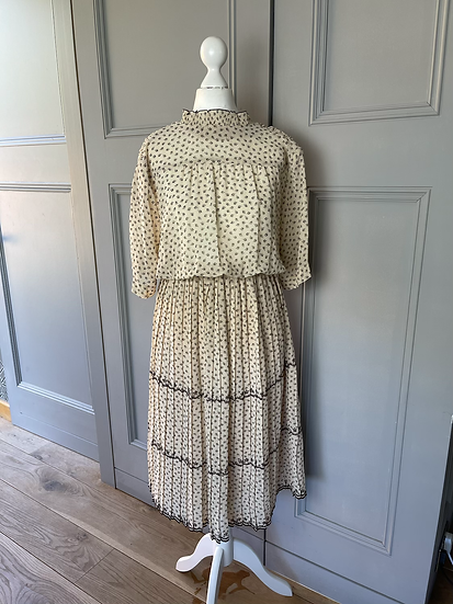 Vintage cream floral chiffon dress UK12-14