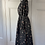 Thumbnail: Vintage black floral dress with pie crust collar. UK10/12