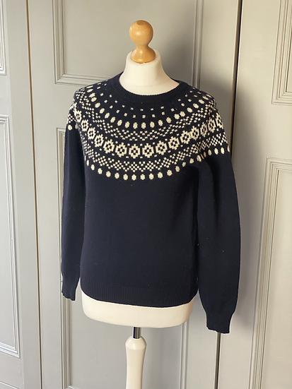 Jack Wills navy/white wool fair isle jumper UK10/12