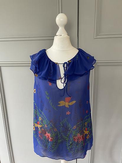 Ossie Clark blue floral pattern blouse Uk 8 rrp£120