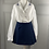 Thumbnail: Vintage white shirt with blue scalloped embroidered collar and cuffs. UK12/16