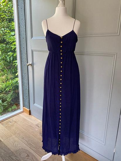100% silk Ducie navy/gold maxi dress (uk S)