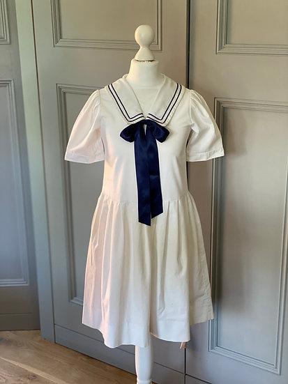 Girls Laura Ashley white/navy sailor dress UK7/8/9 years