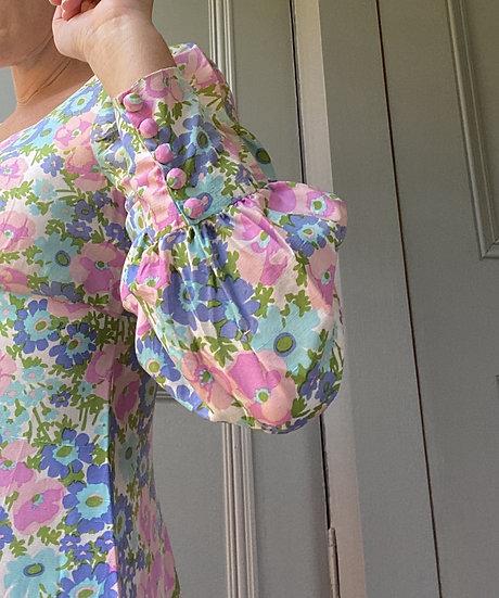 Vintage 60s floral silk maxi (amazing) dress UK8/10