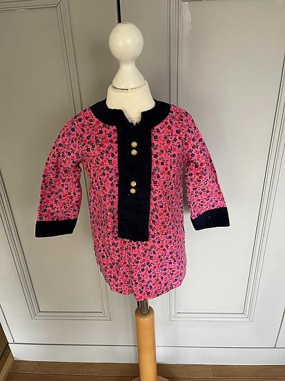 Vintage pink/navy floral dress 18 months