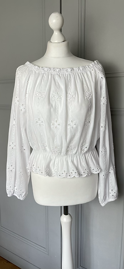H&M white embroidered top UK L