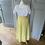 Thumbnail: Vintage silk (?) maxi yellow skirt with belt UK6-10