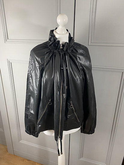Jaeger black shiny ruffle neck jacket. Uk16