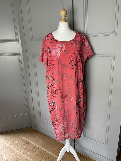 Per Una Red/pink dress with embroidered floral pattern UK