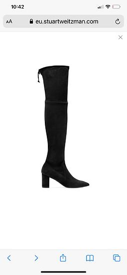 Stuart Weitzman black thigh high suede boots. Uk8