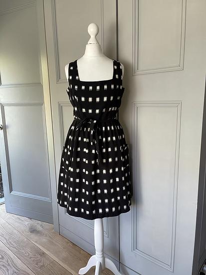 Fat face black and white midi dress uk 10 rrp £50