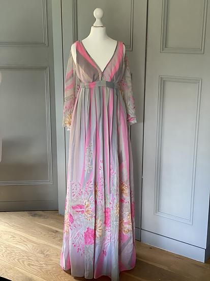 Vintage John Charles pink & grey floaty evening dress UK 10-12