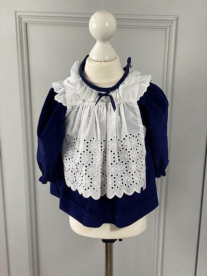 Baby girls vintage velvet pinafore dress 6-9mths