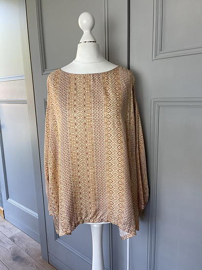 Forte forte orange silk patterned top UK10-14. Rrp£330