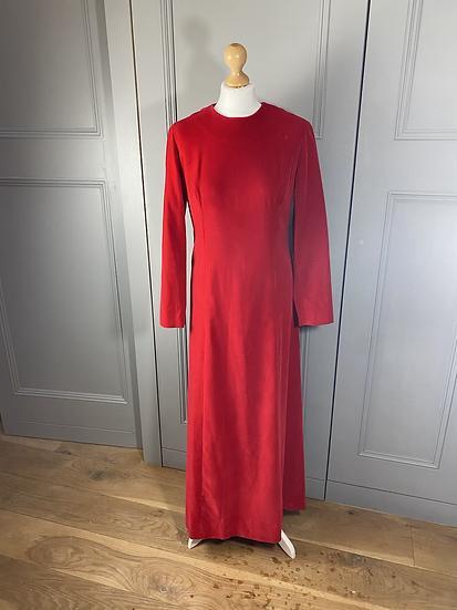 Vintage bright red velvet maxi day dress Uk 12/14