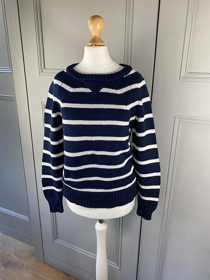 CARDIGAN navy/white Breton chunky cotton jumper.  S