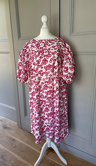 Merlette pink floral cotton dress with puff sleeves. UK10-12 rrp £468