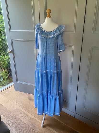 Vintage cotton blue floral prairie maxi dress UK8/10/12
