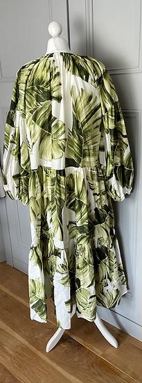 H&M cotton leaf print dress UK M