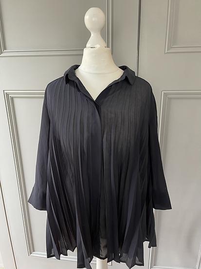 COS navy pleated chiffon blouse. UK 10/12