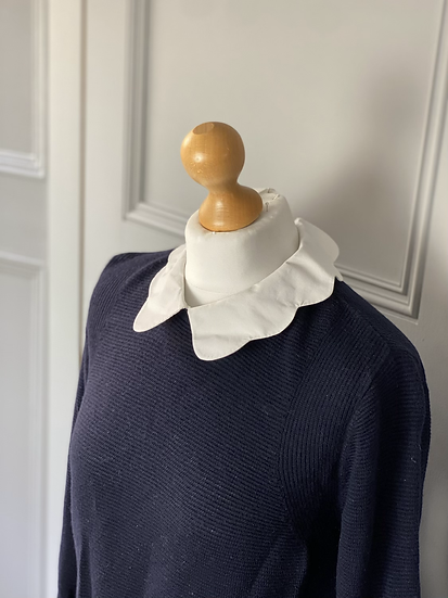 Ted Baker navy jumper with faux shirt detail and scalloped collar. Medium