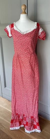 Vintage red floral maxi dress Uk 10