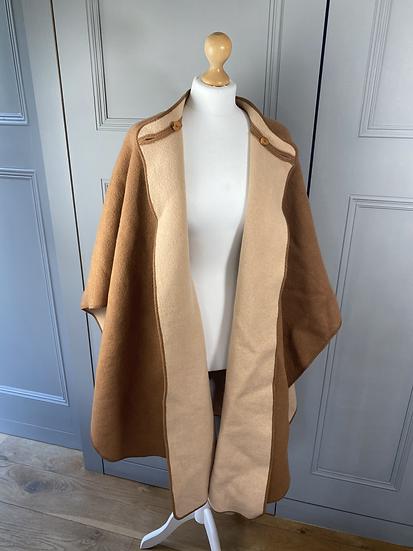 Vintage reversible brown/beige wool cape M/L