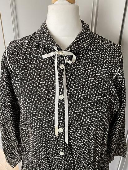 Vintage 70s cotton midi dress black/white florals. 10/12/14