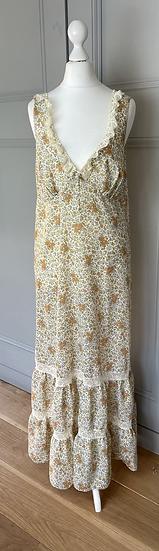 Vintage cream floral maxi dress Uk 8/10