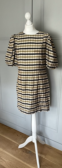 H&M brown and black checked dress Uk 14