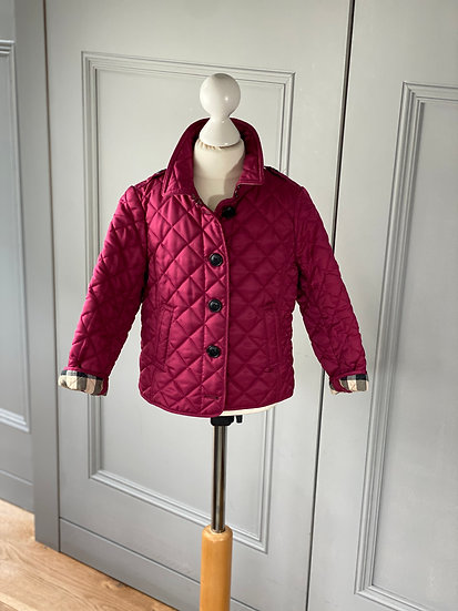 Girls BURBERRY burgundy diamond quilted jacket 4yrs