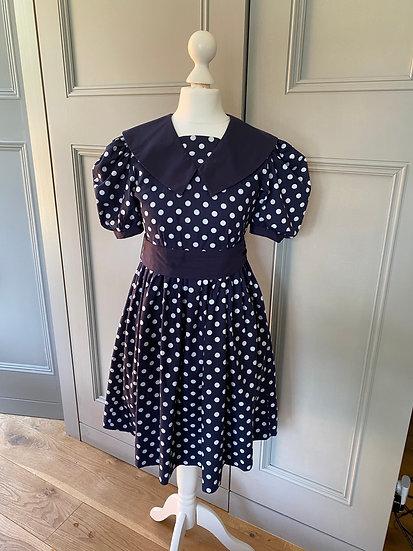 Girls vintage Laura Ashley girls navy polka dot dress 8/9/10 years