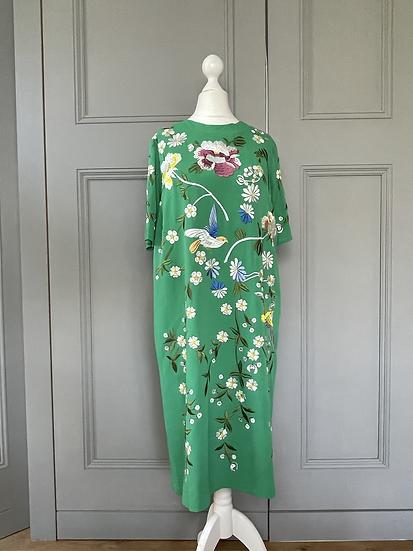 ASOS green embroidered floral  dress. UK 12