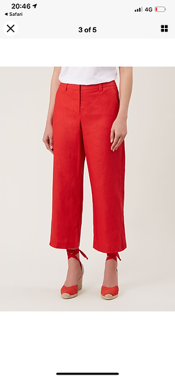 HOBBS cropped linen red trousers Uk 8/10