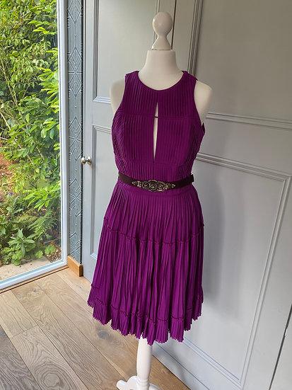Matthew Williamson silk purple dress with belt (UK 8)