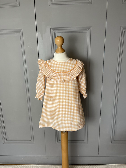 Girls La Coqueta orange/white checked dress age 3
