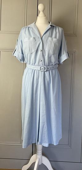 Vintage baby blue dress with belt. UK12