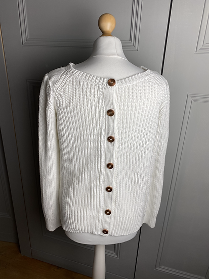 MiHi jeans white chunky cotton jumper with buttons down back  (Medium)