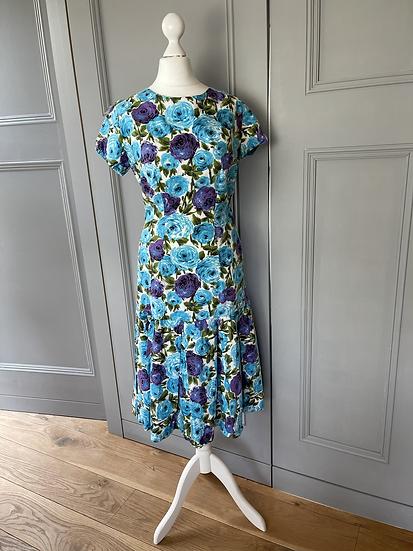 Vintage style cotton floral dress Uk 8-10