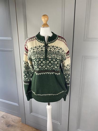 Vintage Austrian wool jumper green/cream/red  M/L