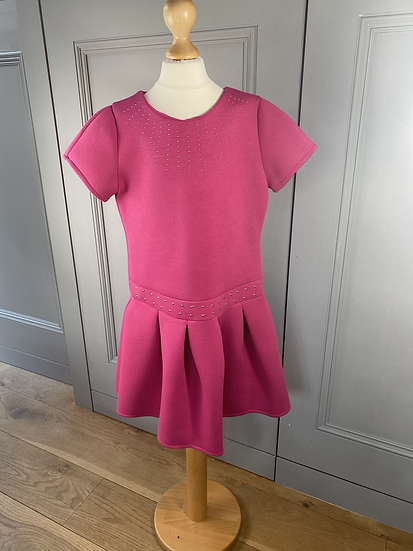 Mayoral scuba fabric pink dress with studs. 10yrs
