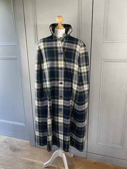 Vintage tartan reversible wool cape M/L