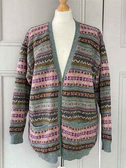 Vintage wool fair isle cardigan. Uk12/14/16