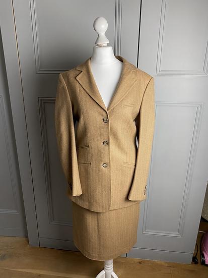 Cordings wool herringbone camel skirt and jacket UK10