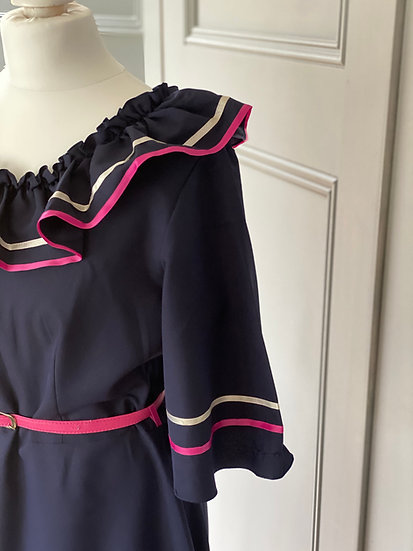 Vintage 70s navy maxi dress with pink/white ribbon UK8-10