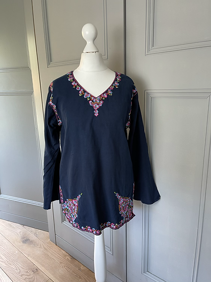 Navy embroidered cotton top Uk 12/14
