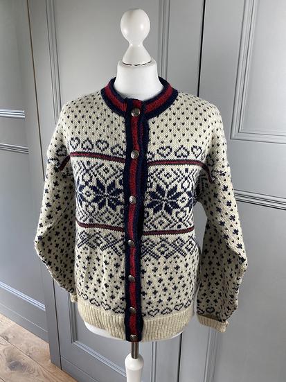 Vintage LLBean Scandinavian cardigan cream/navy/red (M/L)