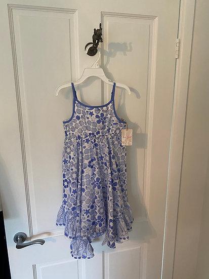 GIRLS 4-5yrs summer dress - shells blue/white