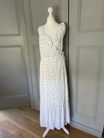 H&M white with black polka dots wrap Uk12